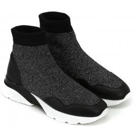 Hogan Sneakers elasticizzate fashion da donna in pelle e tessuto nero glitterato