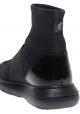 Hogan Sneakers alte elasticizzate da donna in pelle e tessuto nero con brillantini