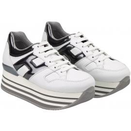 Hogan Sneakers con zeppa alta da donna in pelle bianca con logo metallizzato