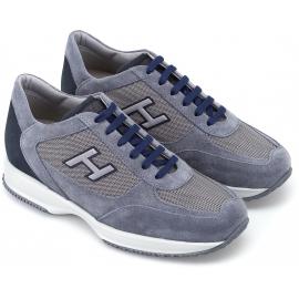 Hogan Sneakers alte fashion da uomo in pelle nabu e tessuto blu chiaro