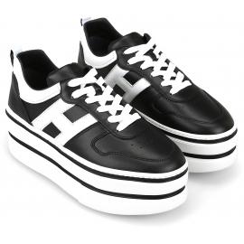 Hogan Sneakers fashion con zeppa alta da donna in pelle nera con logo bianco