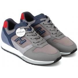 Hogan Sneakers fashion bicolore da uomo in pelle grigia e dettagli blu chiaro