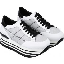 Hogan Sneakers con zeppa alta da donna in pelle e tessuto bianco con brillantini