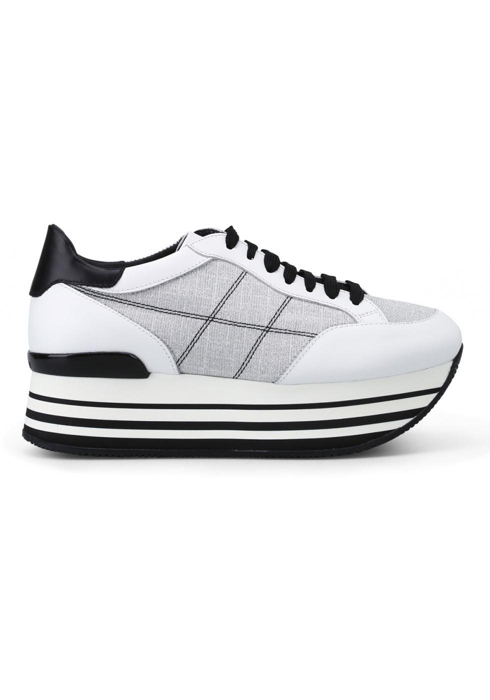 Hogan Sneakers con zeppa alta da donna in pelle e tessuto bianco ...