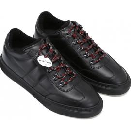 Hogan Sneakers fashion con punta arrotondata da uomo in pelle nera e lacci rossi