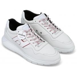 Hogan Sneakers fashion con punta arrotondata da uomo in pelle e tessuto bianco