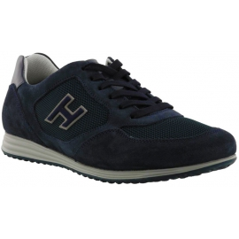 Hogan Sneakers fashion da uomo con punta arrotondata in pelle blu con logo