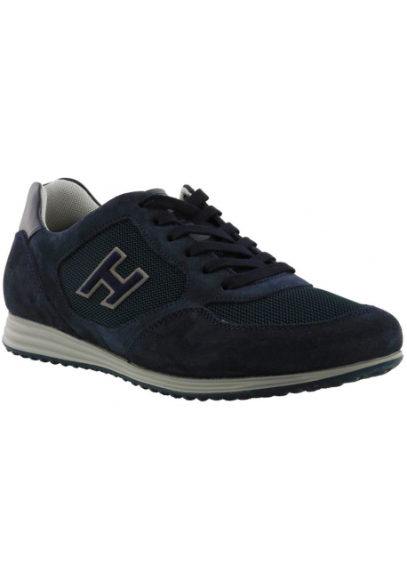 Hogan Sneakers fashion da uomo con punta arrotondata in pelle blu con logo