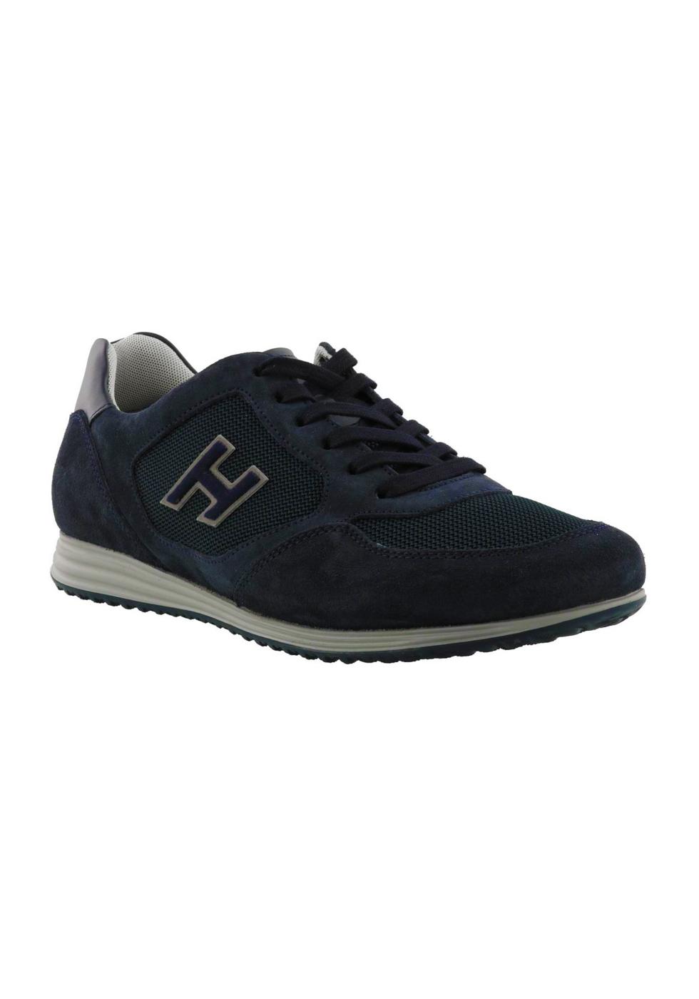 Hogan Sneakers fashion da uomo con punta arrotondata in pelle blu ...