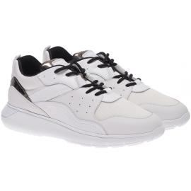 Hogan Sneakers fashion da uomo in pelle e tessuto bianco con lacci neri