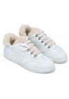 Hogan Sneakers fashion da donna con punta arrotondata in pelle bianca con finta pelliccia
