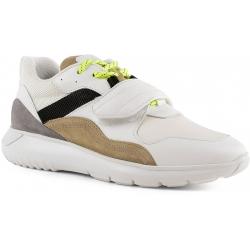 Hogan Sneakers da uomo in pelle e tessuto bianco chiusura con lacci e velcro