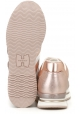 Hogan Sneakers fashion da donna in pelle laminata rosa metallico con logo bianco