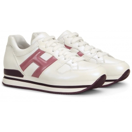 Hogan Sneakers fashion con punta arrotondata da donna in pelle bianca e logo rosa