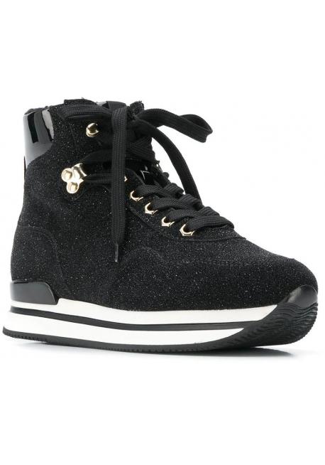 Hogan Sneakers alte con zeppa da donna in pelle nera con brillantini e pelliccia all'interno
