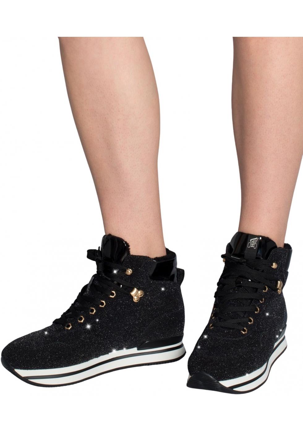 Hogan Sneakers alte con zeppa da donna in pelle nera con ...