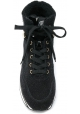 Hogan Sneakers alte con zeppa da donna in pelle nera con brillantini e pelliccia all'interno