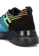 Hogan Sneakers fashion con zeppa da donna in pelle nera con disegno multicolore