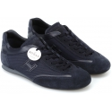 Hogan Sneakers basse fashion da uomo in pelle e tessuto blu con punta arrotondata