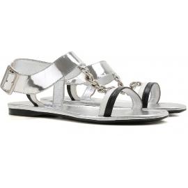 Sandali bassi Prada donna in pelle laminata argento