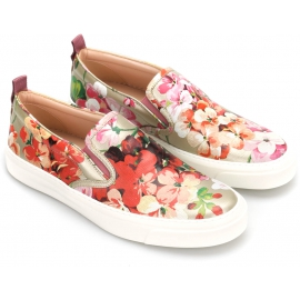 Slip on Gucci donna in pelle stampa floreale