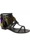 Sandali bassi Saint Laurent in pelle nero con decori