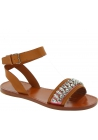 Sandali bassi Miu Miu in pelle sabbia con cristalli