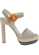 Sandali tacco alto Prada in camoscio beige motivo corda