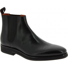 Santoni Stivaletti alla caviglia fashion da uomo in pelle nera con bande elastiche