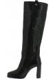 Stuart Weitzman Stivali al ginocchio con tacco alto da donna in pelle nera