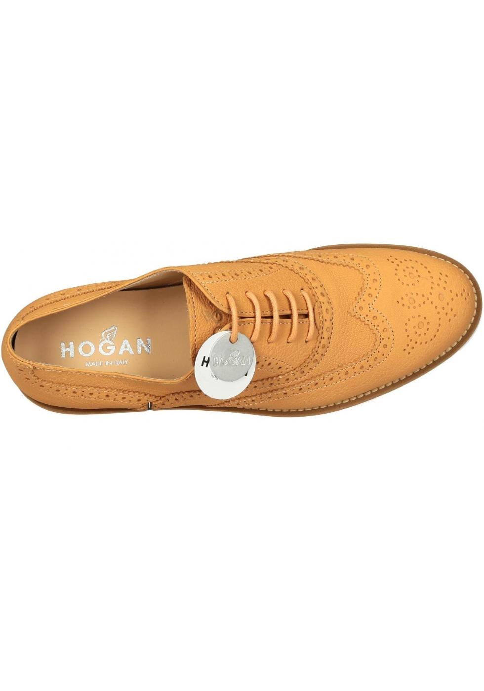 Stringate brogue Hogan donna in pelle arancione - Italian Boutique