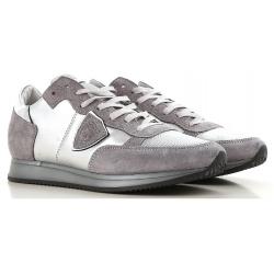 Philippe Model Sneakers donna in pelle e tessuto argento
