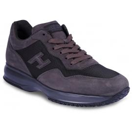 Hogan Interactive Sneakers alte da uomo in pelle e tessuto grigio tortora con logo
