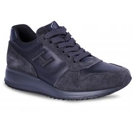 Hogan Interactive Sneakers alte da uomo in pelle e camoscio blu grigio con logo