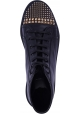 Gucci Sneakers alte fashion da donna in pelle nera con borchie dorate sulla punta