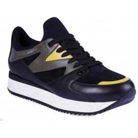 Dolce&Gabbana Sneakers slip-on da uomo in pelle e camoscio nero con inserti verdi e gialli