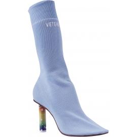 Vetements Stivali a calzino da donna in cotone celeste con tacco accendino alto