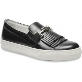 Tod's Sneakers slip-on da donna in pelle nera con frangia e doppia T