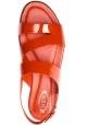 Tod's Sandali bassi da donna in pelle verniciata rosso paprika chiusura con fibbia