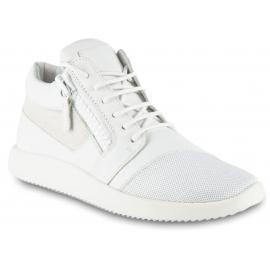 Giuseppe Zanotti Sneakers alte da donna con zip in pelle bianca dettagli oro