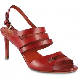 Santoni Sandali a fasce con tacco da donna in pelle rossa con cinturino alla caviglia