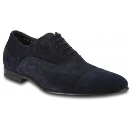 Santoni Scarpe francesine stringate a punta arrotondata da uomo in velluto blu