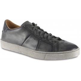 Santoni Sneakers da uomo in pelle grigia chiusura con lacci