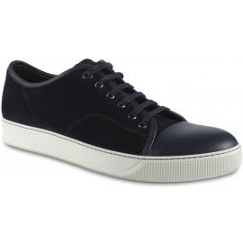 Lanvin Sneakers basse fashion da uomo in pelle di camoscio e nappa nera