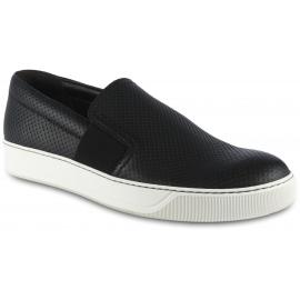 Lanvin Sneakers slip-on da uomo in pelle nera traforata con bande elastiche laterali
