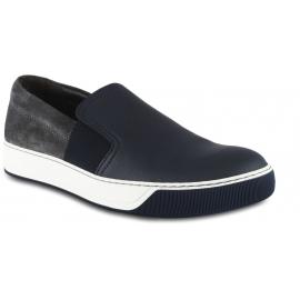 Lanvin Sneakers slip-on da uomo in pelle blu e camoscio grigio con bande elastiche laterali