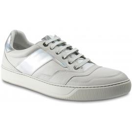 Lanvin Sneakers basse da uomo in pelle bianca con effetto ologramma e lacci