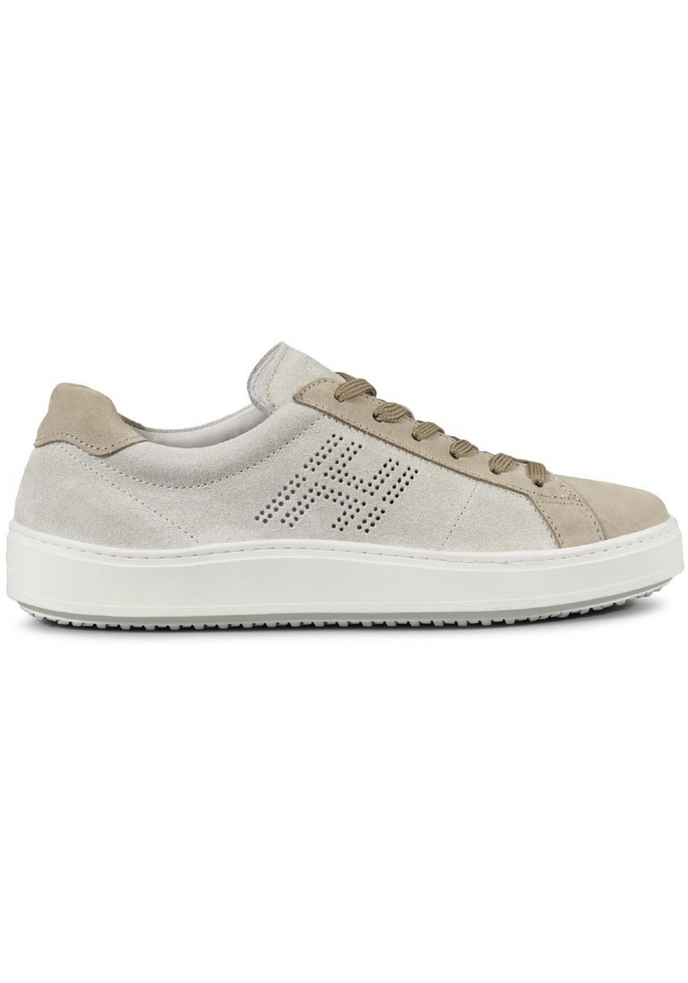 Sneakers Hogan H302 da uomo in suede beige - Italian Boutique