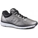 Sneakers Hogan uomo in pelle laminata color argento