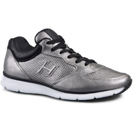 Sneakers Hogan uomo in pelle laminata color argento